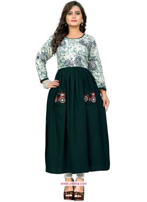 Picture Of Stylish Green Rayon Printed Designer Kurti