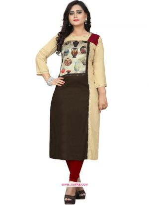 Picture Of Stylish Multi Color Rayon Hand Work Designer Kurti