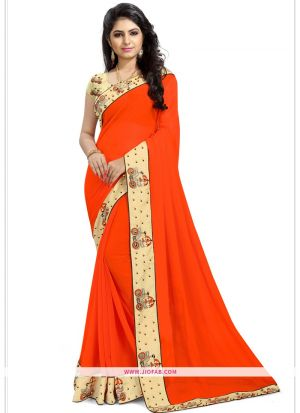 Picture Of Traditional Orange Georgette Saree