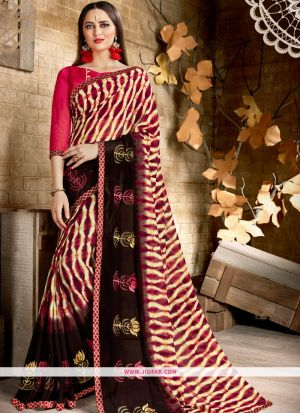 Picture Of Traditional Pink Georgette Saree