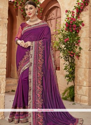 Picture Of Traditional Purple Georgette Chiffon Saree