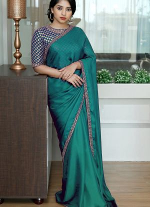 Pine Green Colored Two Tone Silk Fancy Sequence Work Saree