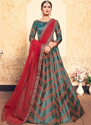 Pine Green Satin Designer Lehenga For Engagement