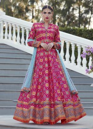 Pink Anarkali Style Flared Kurti