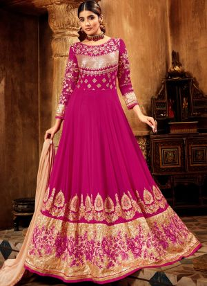 Pink Anarkali Suit For Wedding In Pure Georgette Fabric