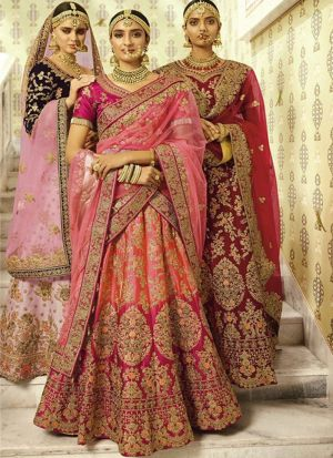 Pink And Light Pink Naylon Silk Designer Lehenga Choli With Thread Work SN 143