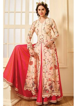 Pink And Peach Muslin Cotton Anarkali Style Kurti