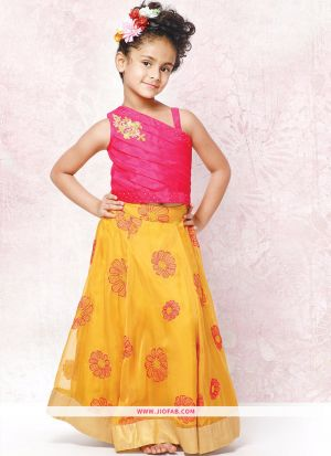 Pink And Yellow Party Wear Lehenga Choli For Baby Girl