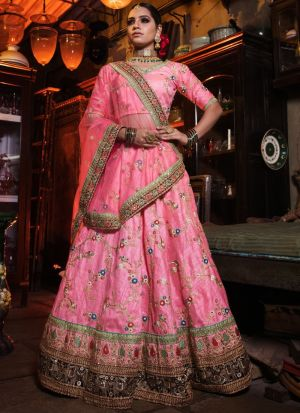 Pink Art Silk Designer Lehenga Choli For Engagement