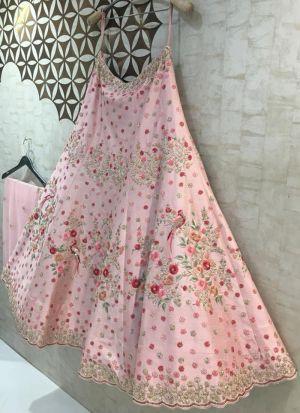 Pink Banglory Satin Silk Fancy Thread Work Lehenga Choli With 60 Gm Georgette Dupatta