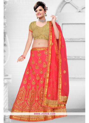 Pink Bridal Semi Stitched Chaniya Choli