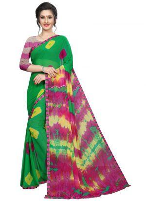 Pink Chiffon Indian Saree