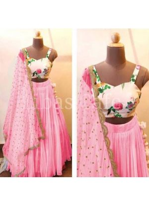 Pink Color Party Wear Lehenga Choli