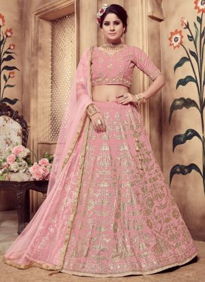 Pink Color Rubber Foil Work Silk Designer Lehenga Choli