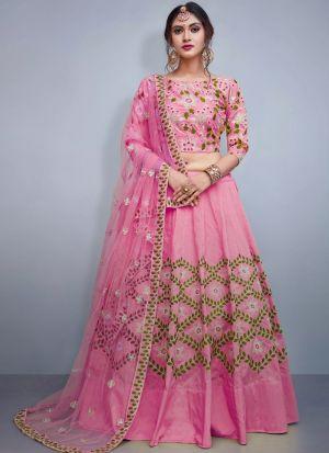 Pink Colour Tafetta Silk Volume 8 Bride Maids Lehenga Choli