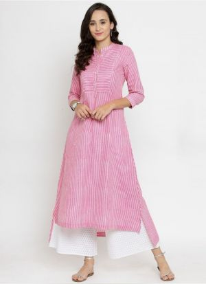 Pink Cotton Blend Designer Kurti For Ladies