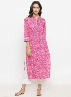 Pink Cotton Designer Party Wear Long Kurti
