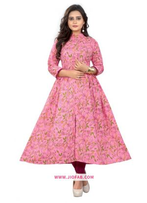 Pink Cotton Fabric Printed Stitched Festival Partywear Kurti