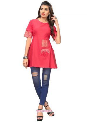 Pink Cotton Traditional Embroidered Stylish Kurti