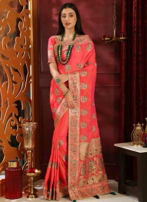 Pink Embroidered Silk Designer Saree For Teej Festival