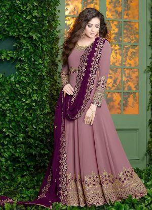 Pink Foux Georgette Designer Floor Lenth Salwar Suit