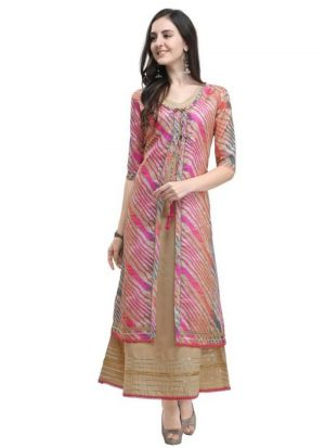 Pink Leheriya Print Beautiful Heavy Cotton Kurti