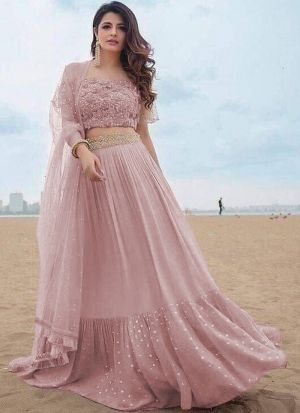 Pink Party Wear Ruffle Lehenga Choli