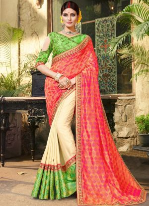 Pink Pure Jacquard Stylish Designer Party Wear Fancy Saree
