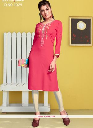 Pink Rayon Embroidered Heavy Designer kurti