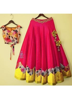Pink Satin Banglori Silk New Launch Party Wear Lehenga Choli