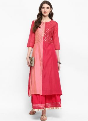 Pink Silk Blend Latest Designer Kurti Collection