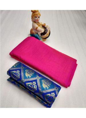 Pink Zoya Silk Solid Party Wear Designer Saree