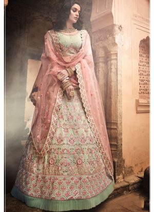 Pista Green Georgette Lehenga Choli For Women