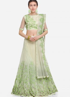 Pista Net Party Wear Lehenga Choli