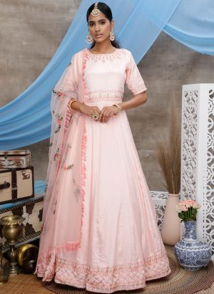 Pleasant Peach Zari Embroidered Designer Anarkali Suit