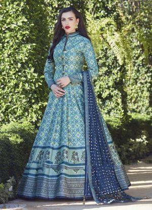 Powder Blue Anarkali Style Flared Kurti