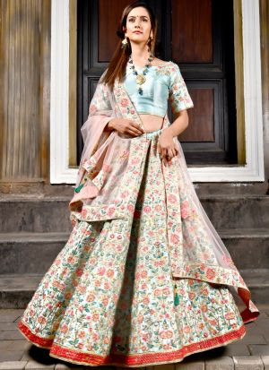 Powder Blue Malai Satin Peafowl Vol 28 Designer Lehenga Choli