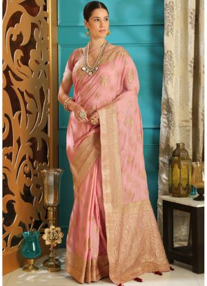 Powder Pink Embroidered Silk Designer Sarees For Festival