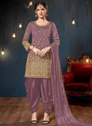 Powder Pink Taffeta Silk Designers Salwar Kameez Dresses For Eid
