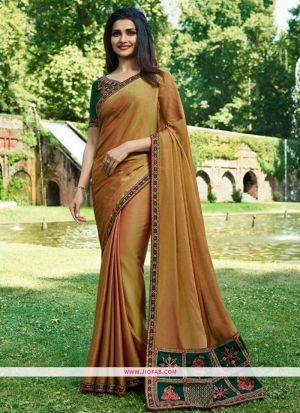 Prachi Desai Beige Sparkle Silk Embroidered Bollywood Saree