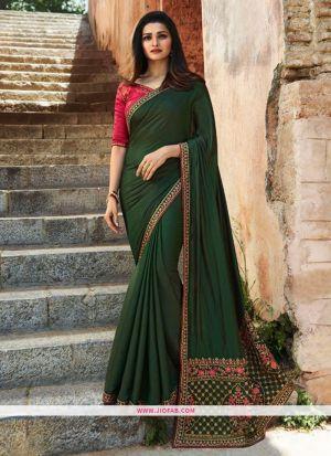 Prachi Desai Dark Green Embroidered Sparkle Silk Bollywood Saree