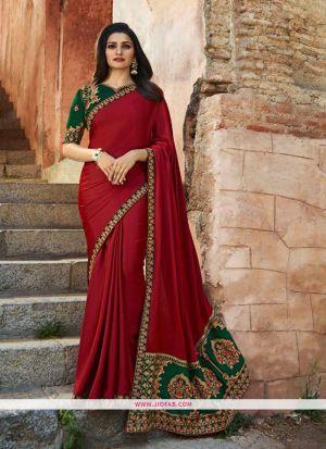 Prachi Desai Maroon Sparkle Silk Embroidered Bollywood Saree