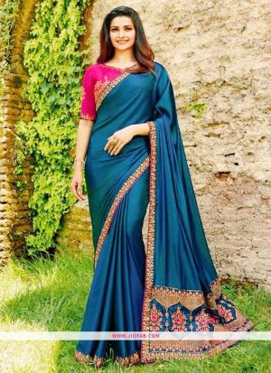 Prachi Desai Steel Blue Sparkle Silk Embroidered Bollywood Saree