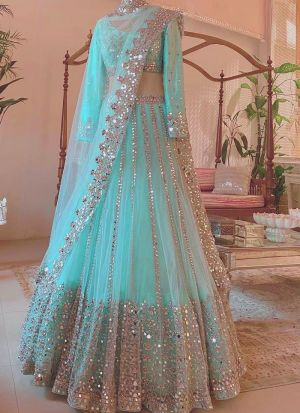 Preferable Aqua Colour Thread Work Mono Net Lehenga Choli