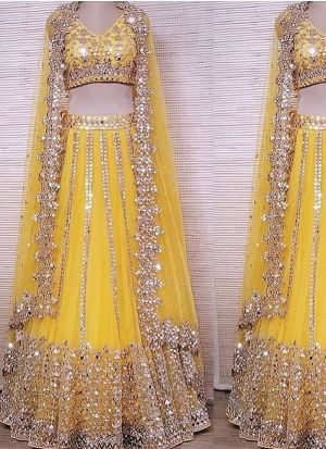 Preferable Yellow Colour Thread Work Mono Net Lehenga Choli