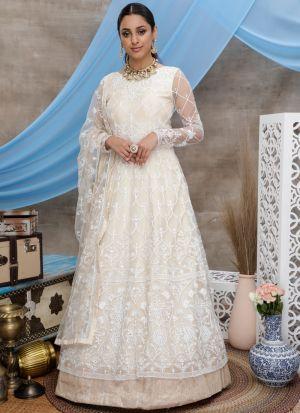Pretty Off White Net Fabric Party Wear Anarkali Suit