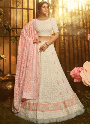 Pretty Sequence Thred Work White Ruffle Lehenga Choli