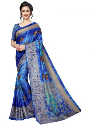 Printed Blue Jute Silk Saree