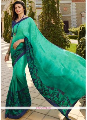 Printed Green Saree With Fancy Heavy Lace Border
