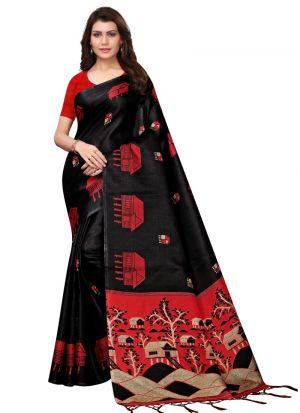 Printed Khadi Silk Black Color Saree